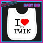 I LOVE HEART MY TWIN WHITE BABY BIB EMBROIDERED